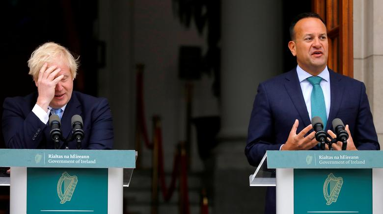 Britain's Prime Minister Boris Johnson reacts as Ireland's Prime Minister (Taoiseach) Leo Varadkar speaks in Dublin, Ireland. REUTERS/Phil Noble