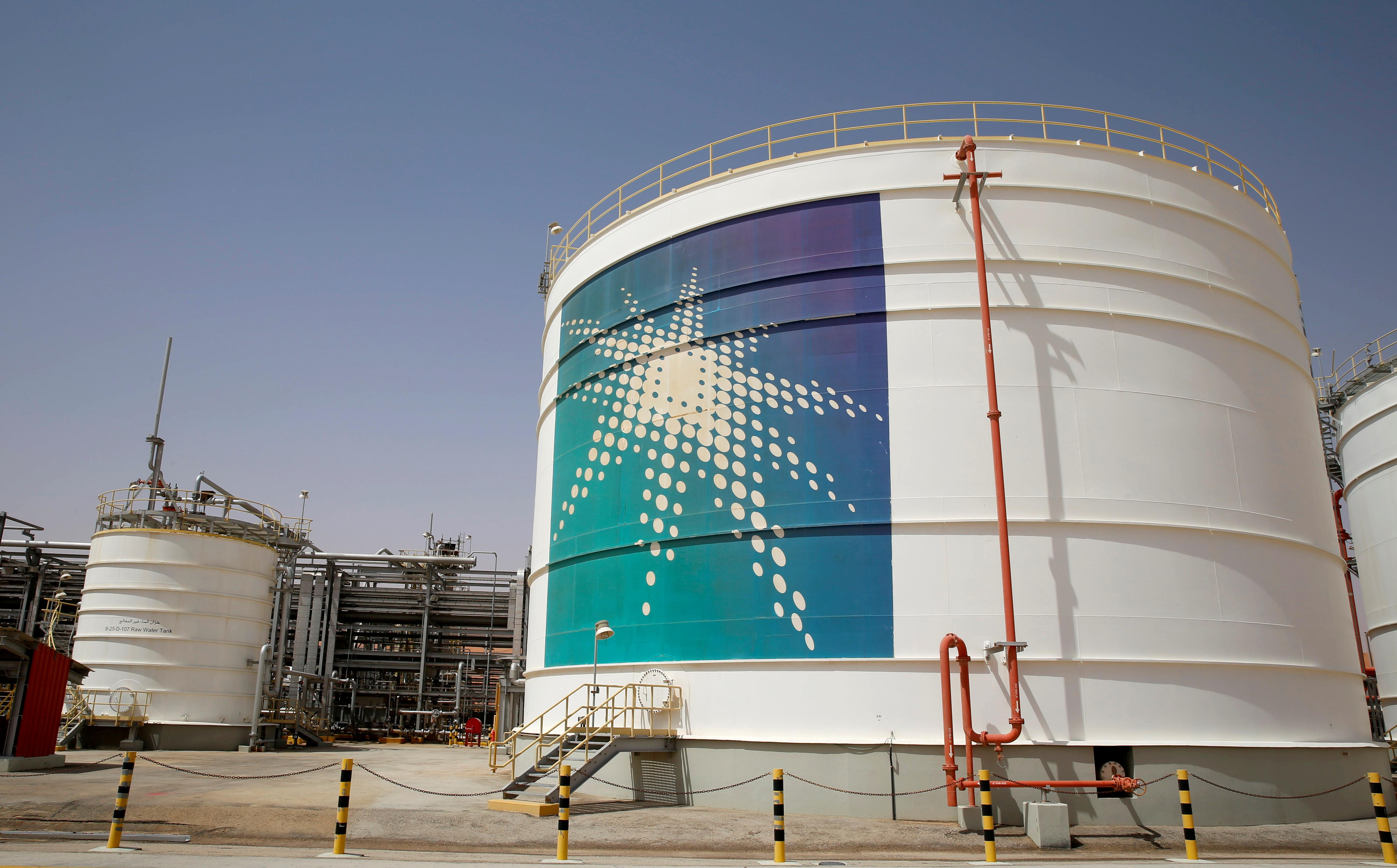 An Aramco oil tank is seen at the Production facility at Saudi Aramco's Shaybah oilfield in the Empty Quarter, Saudi Arabia May 22, 2018. Ahmed Jadallah