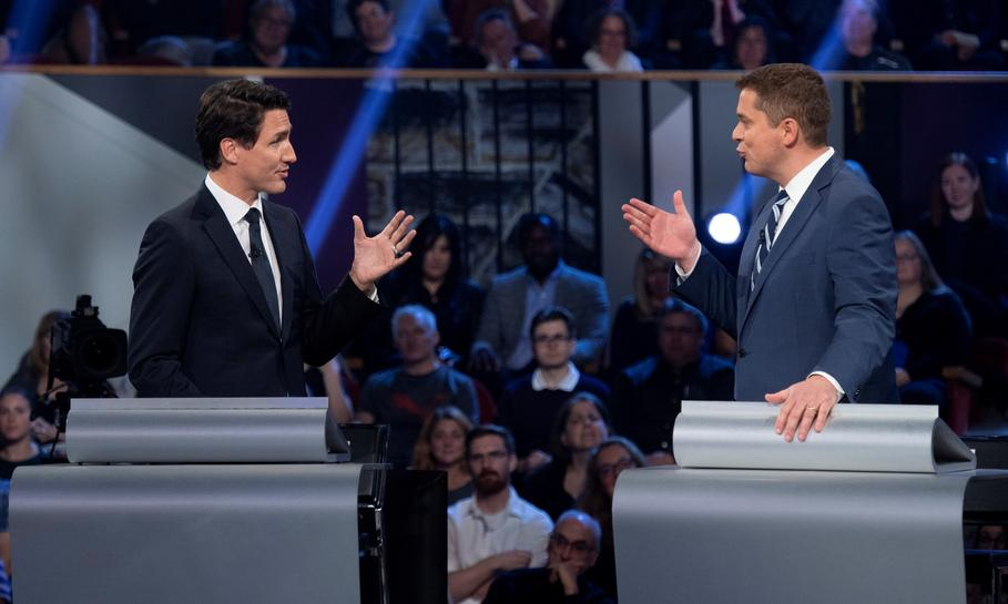 Main Canadian opposition leader slams PM Trudeau as a fraud in key election debate