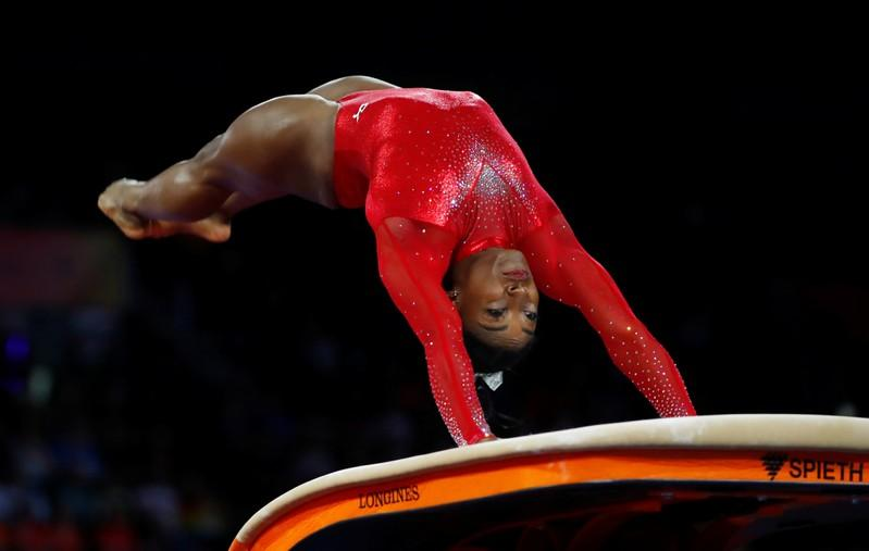 Brilliant Biles wins vault gold to tie worlds medal record