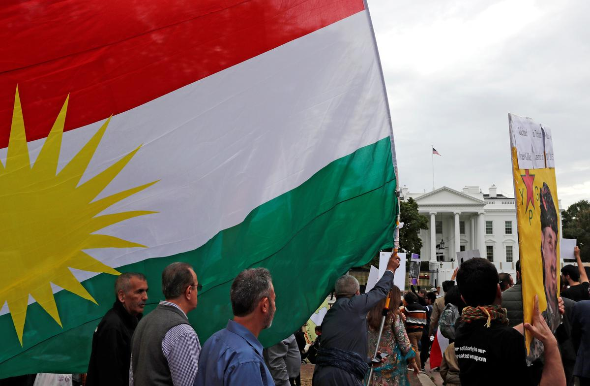 In rally outside White House, Trump blamed for exposing Kurds to Turkish offensive