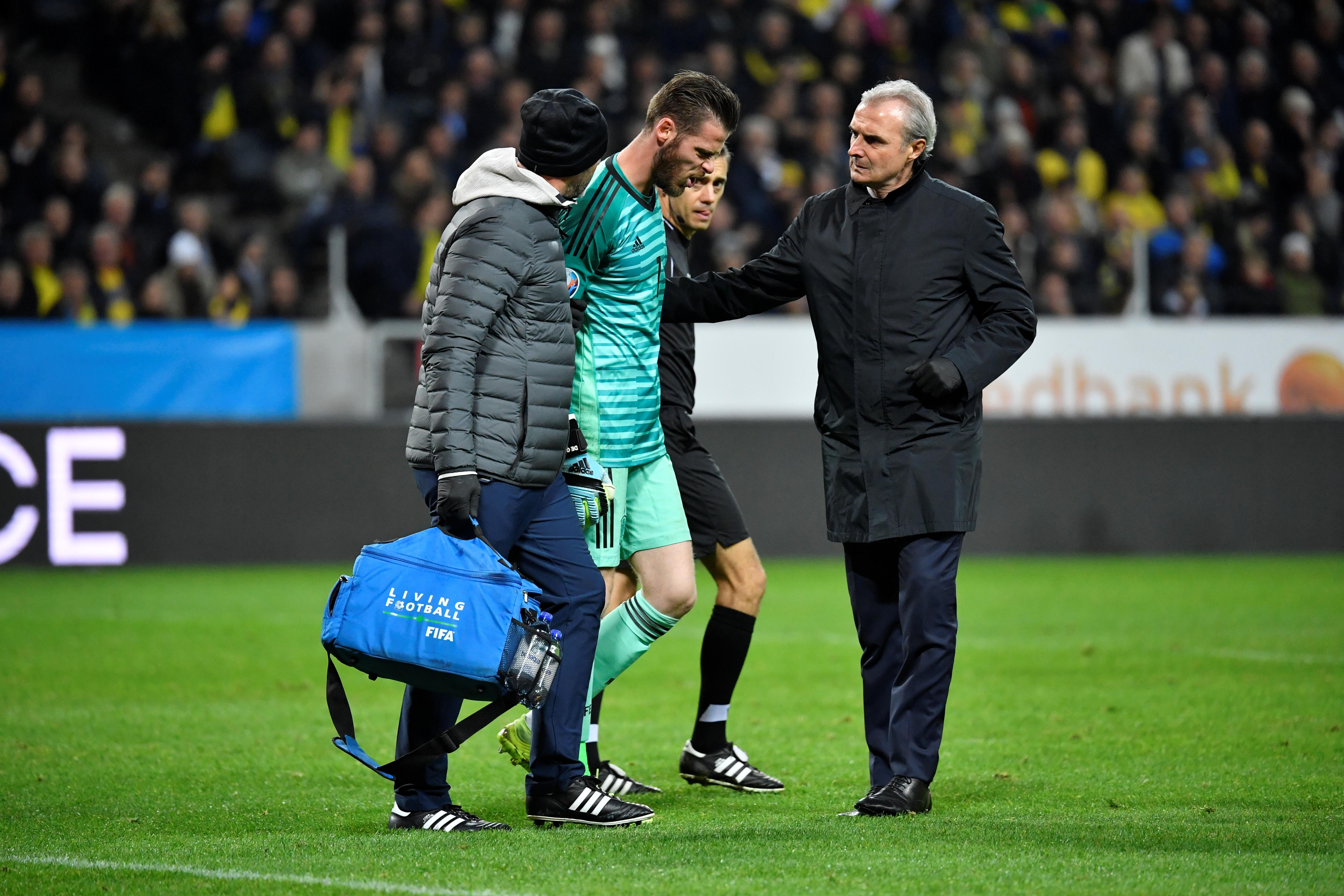 De Gea goes off injured in Spain qualifier with Sweden