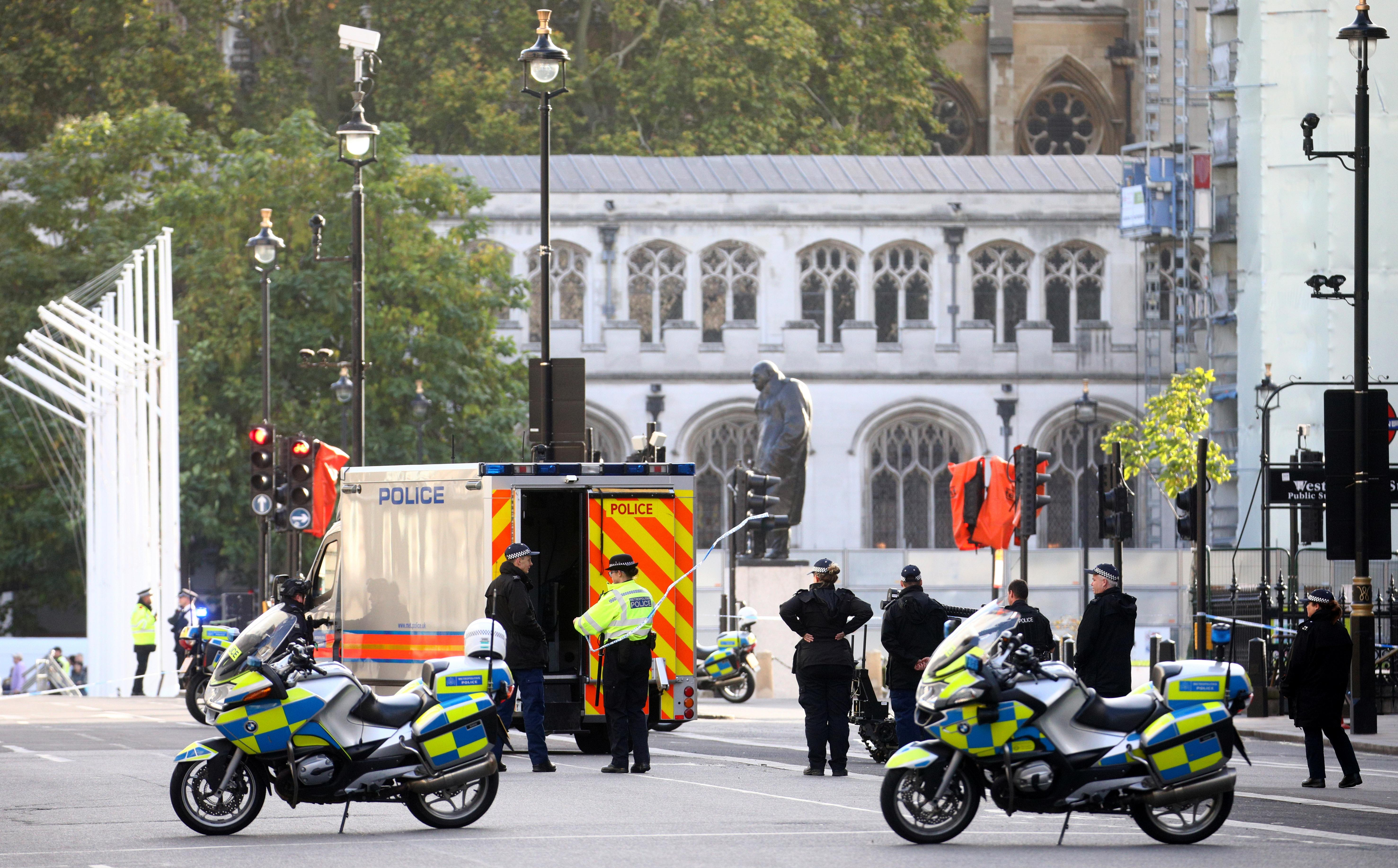 London police remove suspicious package from UK political district