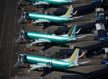 Unpainted Boeing 737 MAX aircraft are seen parked at Renton Municipal...