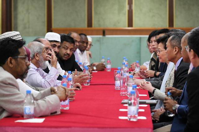 Hong Kong's Chief Executive Carrie Lam meets with representatives of the Incorporated Trustees of the Islamic Community Fund of Hong Kong and other leaders of the local Muslim community at the Kowloon Masjid and Islamic Centre in Tsim Sha Tsui, in Hong Kong, China October 21, 2019. Information Services Department/Handout via REUTERS  THIS IMAGE HAS BEEN SUPPLIED BY A THIRD PARTY. RESALES. NO ARCHIVES