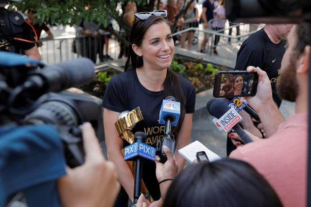United States women's national soccer team player Alex Morgan speaks to media at the Wagner Hotel as she returned to the United States with her teammates after winning the Women's World Cup in New York, U.S., July 8, 2019. REUTERS/Andrew Kelly