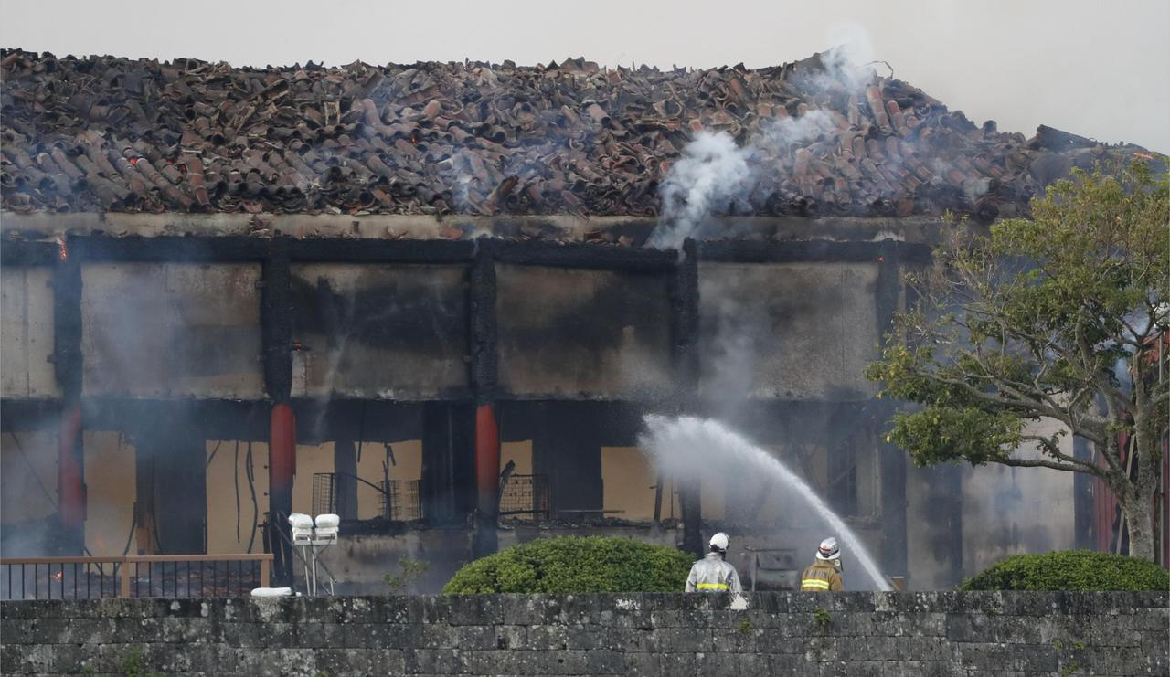 Image result for Fire engulfs Japan's Shuri Castle, a World Heritage site in Okinawa