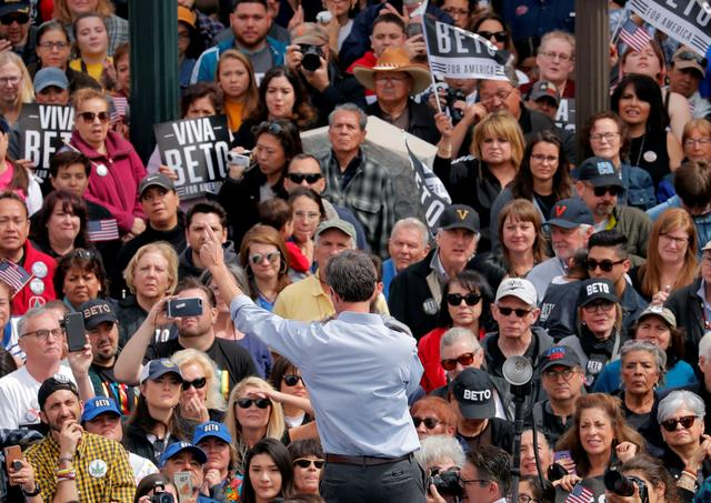 FILE PHOTO: Democratic 2020 U.S. presidential candidate Beto O'Rourke addresses his supporters at a kickoff rally on the streets of El Paso, Texas, U.S., March 30, 2019. REUTERS/Lucas Jackson/File Photo