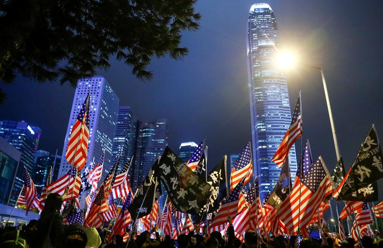 Conspiracy becomes explicit when that many US flags waving in Hong Kong