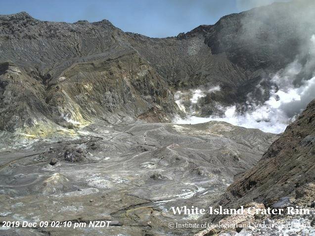 New Zealand volcano webcam captures tourists in crater moments...
