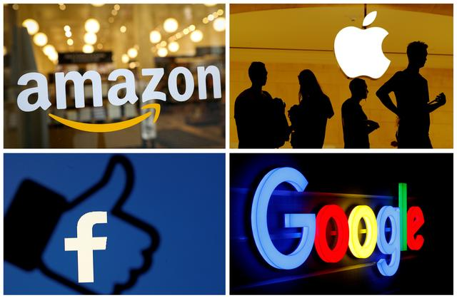 FILE PHOTO: The logos of Amazon, Apple, Facebook and Google are seen in a combination photo from Reuters files. REUTERS/File Photo