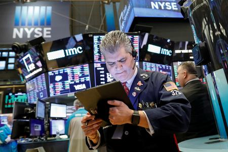 US STOCKS-Wall St hits record highs on trade optimism, Apple gains