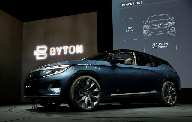FILE PHOTO: The Byton M-Byte all-electric SUV, expected to enter mass production this year, is displayed at a news conference during the 2020 CES in Las Vegas, Nevada, U.S. January 5, 2020. REUTERS/Steve Marcus/File Photo