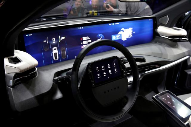 FILE PHOTO: An interior view of the Byton M-Byte all-electric SUV, expected to enter mass production this year, is shown at a news conference during the 2020 CES in Las Vegas, Nevada, U.S. January 5, 2020. REUTERS/Steve Marcus/File Photo