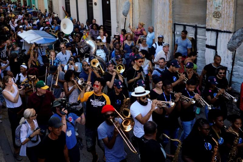Festive New Orleans conga in Havana defies Trump Cuba policy