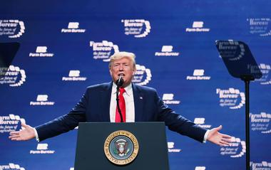 U.S. President Trump speaks at the American Farm Bureau Federation Annual...