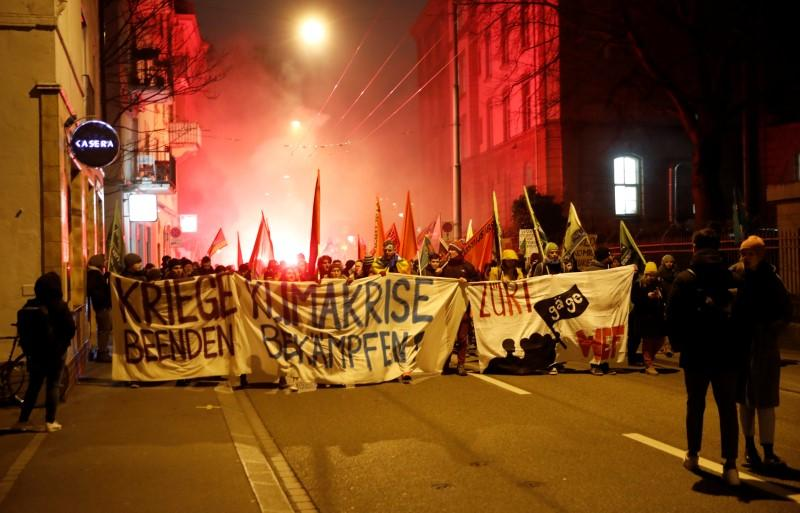 Zurich police use tear gas, water cannons on World Economic Forum protesters