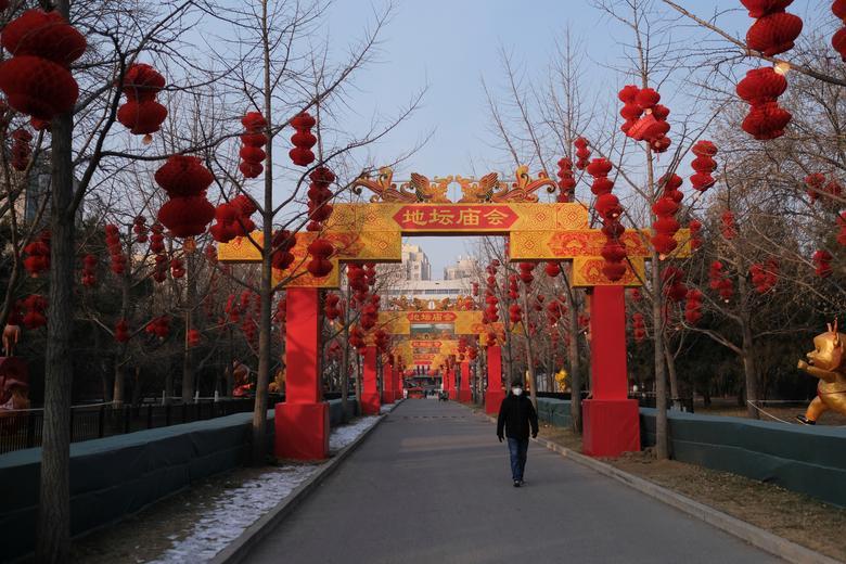 A man wearing a protective mask walks at Ditan Park in Beijing, China January 24, 2020. REUTERS/Carlos Garcia Rawlins