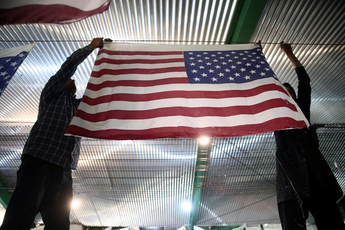 Iranian factory makes U.S. and Israeli flags to burn