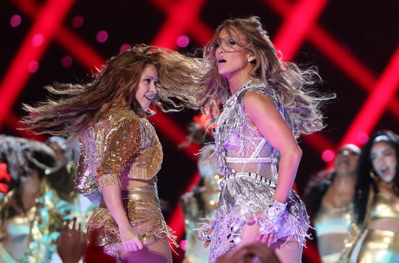 Jennifer Lopez and Shakira perform during the halftime show. REUTERS/Shannon Stapleton