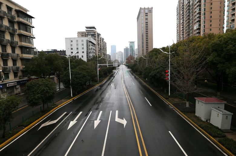 A view of a street in Wuhan after the city's government announced a ban on non-essential vehicles in the downtown area to contain the coronavirus outbreak, in Wuhan, China, January 26.     China Daily via REUTERS