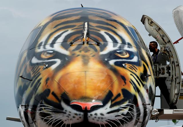 FILE PHOTO: An Embraer E-190 E2 aircraft featuring a spray painted tiger's face on the nose of the aircraft is displayed during a media preview of the Singapore Airshow February 4, 2018. REUTERS/Edgar Su/File Photo