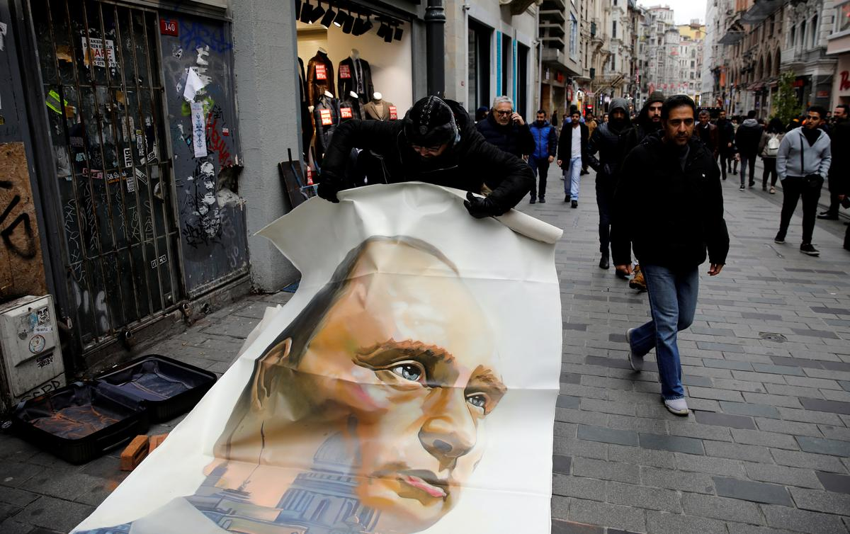 Russian artist unveils Putin 'superhero' paintings in Istanbul