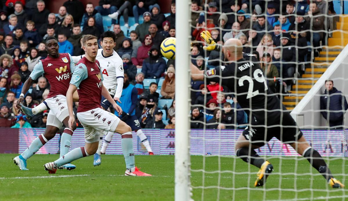 Son double sinks Villa to send Spurs fifth