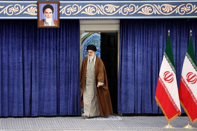 Iran's Supreme Leader Ayatollah Ali Khamenei arrives to cast his vote at a polling station during parliamentary elections in Tehran, Iran February 21, 2020.Official Khamenei website/Handout via REUTERS