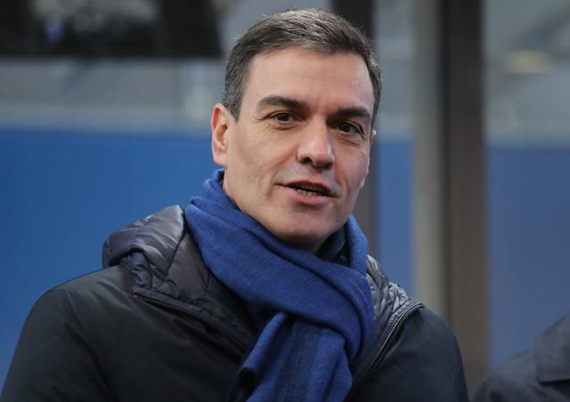 Spain's Prime Minister Pedro Sanchez arrives for the second day of the European Union leaders summit, held to discuss the EU's long-term budget for 2021-2027, in Brussels, Belgium, February 21, 2020. Ludovic Marin/Pool via REUTERS
