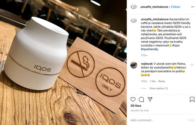 FILE PHOTO: A screenshot shows Un Caffe Michalovce in Slovakia promoting itself as an ÒIQOS Friendly PlaceÓ in an Instagram post January 26, 2018, one way that Philip Morris International Inc markets the device.  Un Caffe Michalovce via REUTERS.