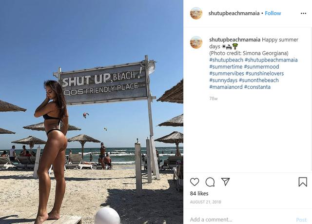 FILE PHOTO: A screenshot shows Shut Up Beach (Mamaia) in Romania promoting itself as an ''IQOS Friendly Place'' in an Instagram post August 21, 2018, one way that Philip Morris International Inc markets the device.  Shut Up Beach (Mamaia) via REUTERS.