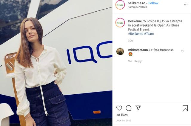 FILE PHOTO: A screenshot shows a young woman posing in an Instagram post July 20, 2019 by Be Like Me, a Romanian marketing agency that promotes the IQOS device on behalf of Philip Morris International Inc. Be Like Me via REUTERS.