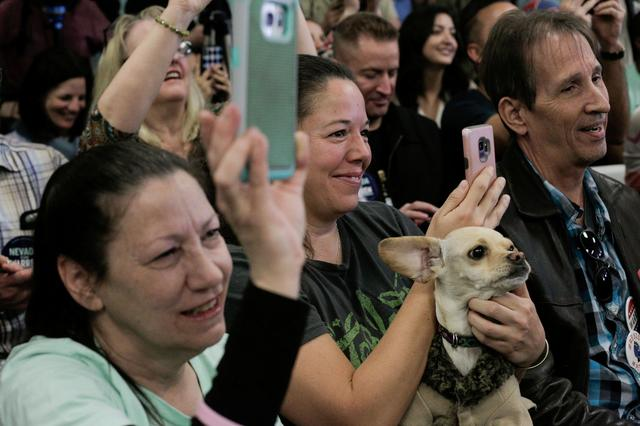 FILE PHOTO: Elyse Petersen holds her dog, Bitcoin, as U.S. Democratic presidential candidate Senator Elizabeth Warren holds a ''Canvass Kickoff'' event at her campaign field office in North Las Vegas, Nevada, U.S. February 20, 2020. REUTERS/David Ryder/File Photo