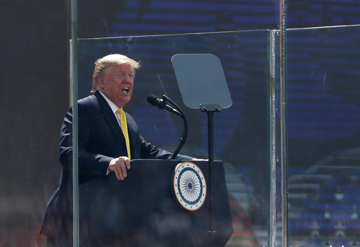 Trump stumbles on Indian names, Hindi word in cricket stadium speech