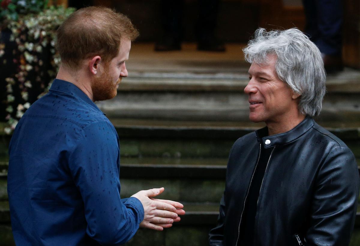 UK's Prince Harry meets Jon Bon Jovi at Abbey Road studios