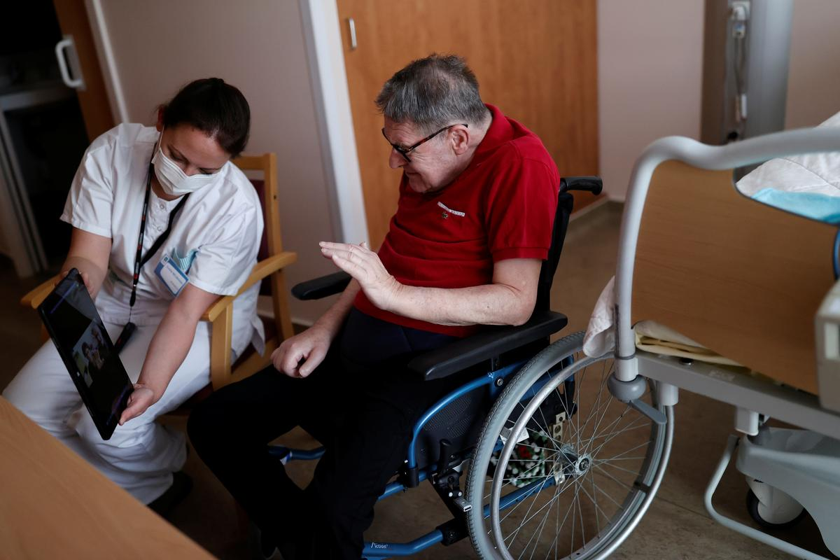 Locked-down French care home combats loneliness with Skype chats