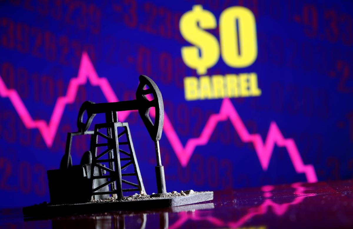 Wall Street drops as oil traders cannot give away U.S. crude