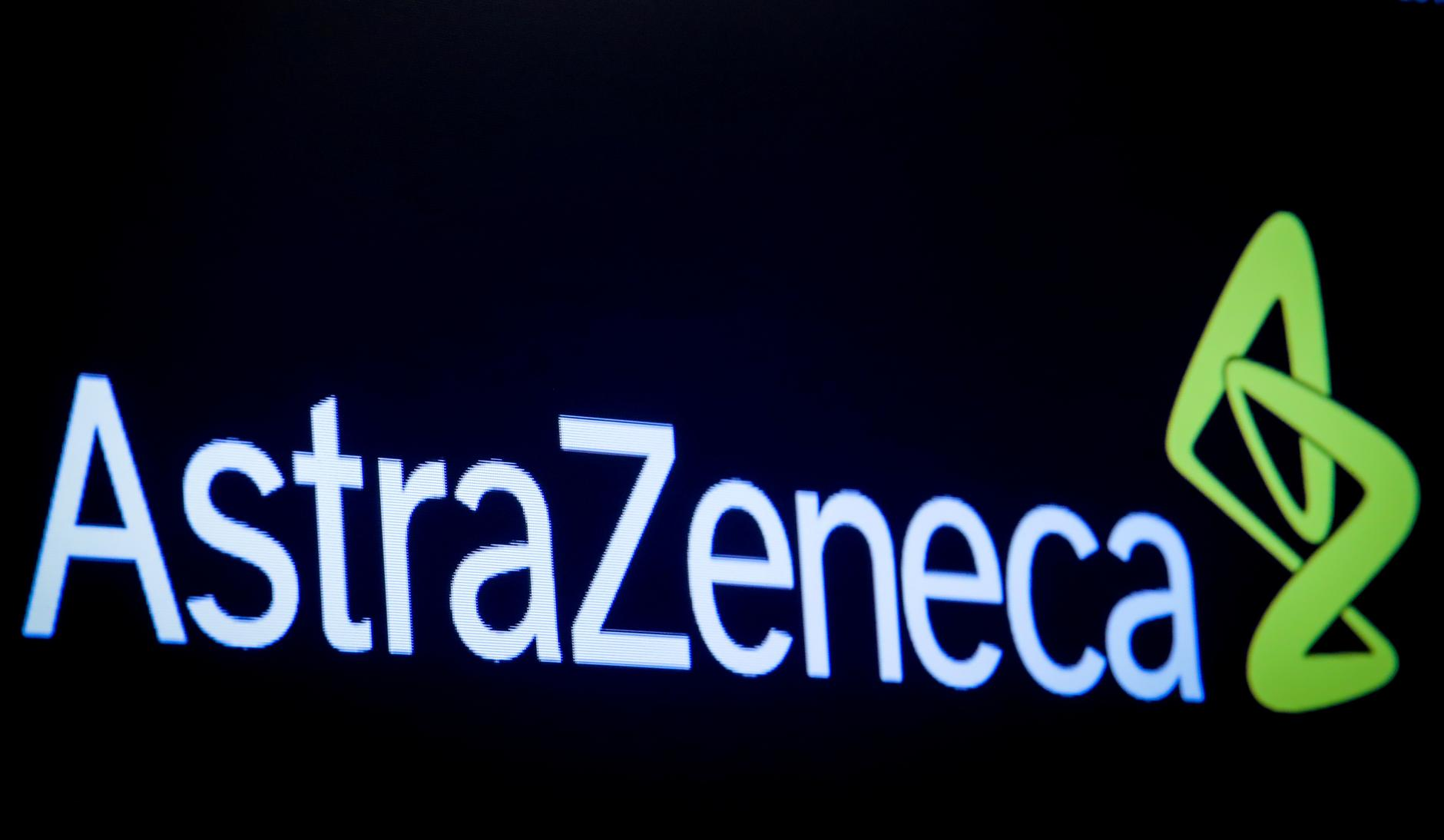 FILE PHOTO: The company logo for pharmaceutical company AstraZeneca is displayed on a screen on the floor at the New York Stock Exchange (NYSE) in New York, U.S., April 8, 2019. REUTERS/Brendan McDermid