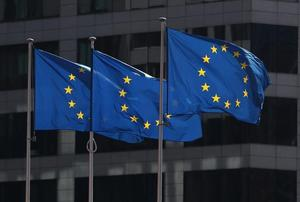 FILE PHOTO: European Union flags fly outside the European Commission...