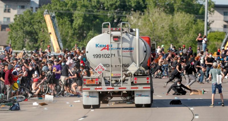 Tanker truck drives into protesters as U.S. cities fear another ...
