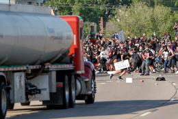 Tanker truck drives into protesters on Minneapolis highway