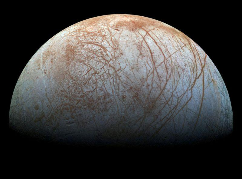 FILE PHOTO: A view of Jupiter's moon Europa created from images taken by NASA's Galileo spacecraft in the late 1990's, according to NASA, obtained by Reuters May 14, 2018. NASA/JPL-Caltech/SETI Institute/ Handout via REUTERS/File Photo
