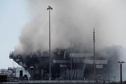 Fire crews battle San Diego navy ship fire
