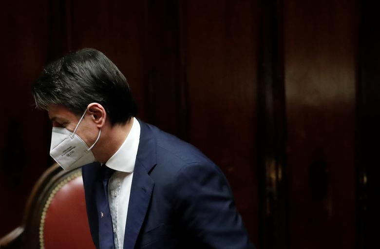 Italian Prime Minister Giuseppe Conte as he leaves after a session on the coronavirus in Rome, April <span dir=