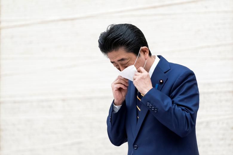 Japan's Prime Minister Shinzo Abe attends a press conference at the prime minister's official residence in Tokyo, April <span dir=