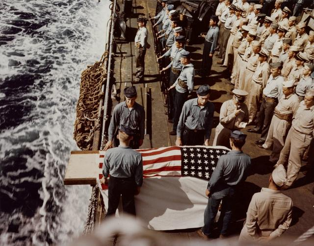 A burial at sea for a casualty of the battle for Iwo Jima onboard the USS Hansford, February1945.  U.S. Navy/via REUTERS