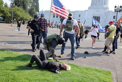 Demonstrators scuffle in Oregon capital