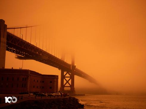 Fires turn California skies glowing orange
