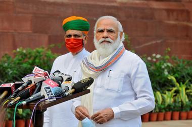 India's PM Modi speaks to media in New Delhi